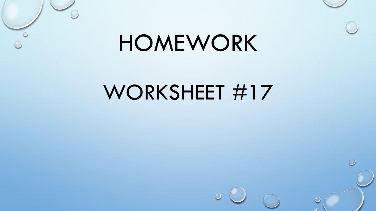 HOMEWORK WORKSHEET #17