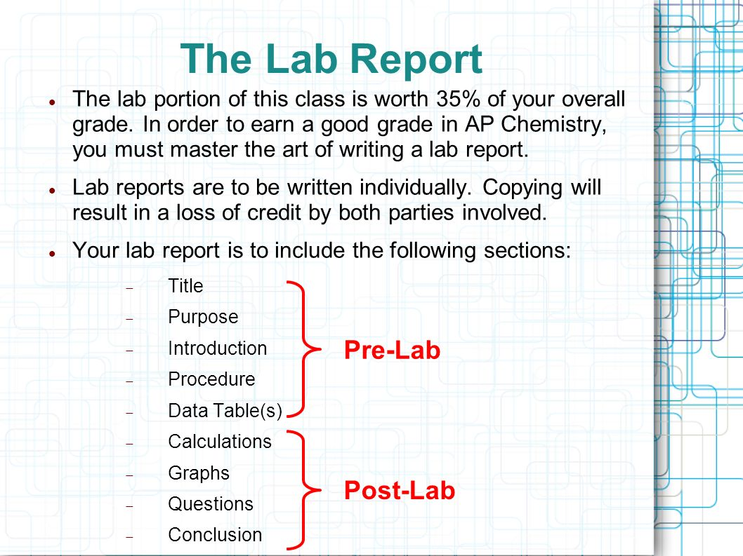 chem 101 lab report 2 essay The free chemistry research paper (percent composition of water in copper sulfate pentahydrate (lab report version) essay) presented on this page should not be viewed as a sample of our on-line writing service.