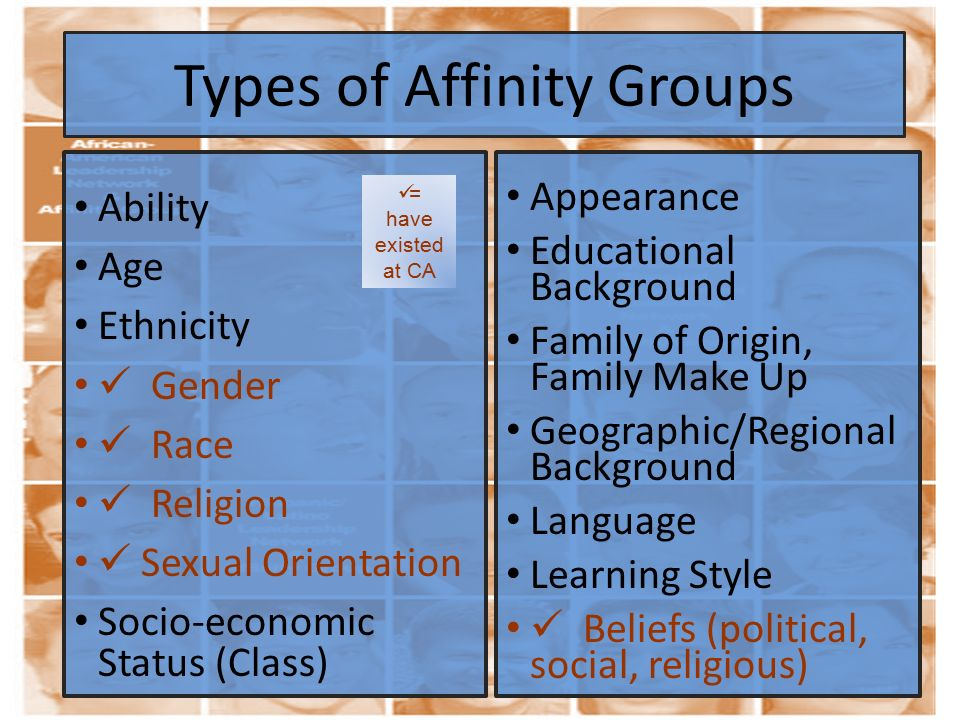 Types of Affinity Groups Ability Age Ethnicity Gender Race Religion Sexual Orientation Socio-economic Status (Class) Appearance Educational Background Family of Origin, Family Make Up Geographic/Regional Background Language Learning Style Beliefs (political, social, religious) = have existed at CA