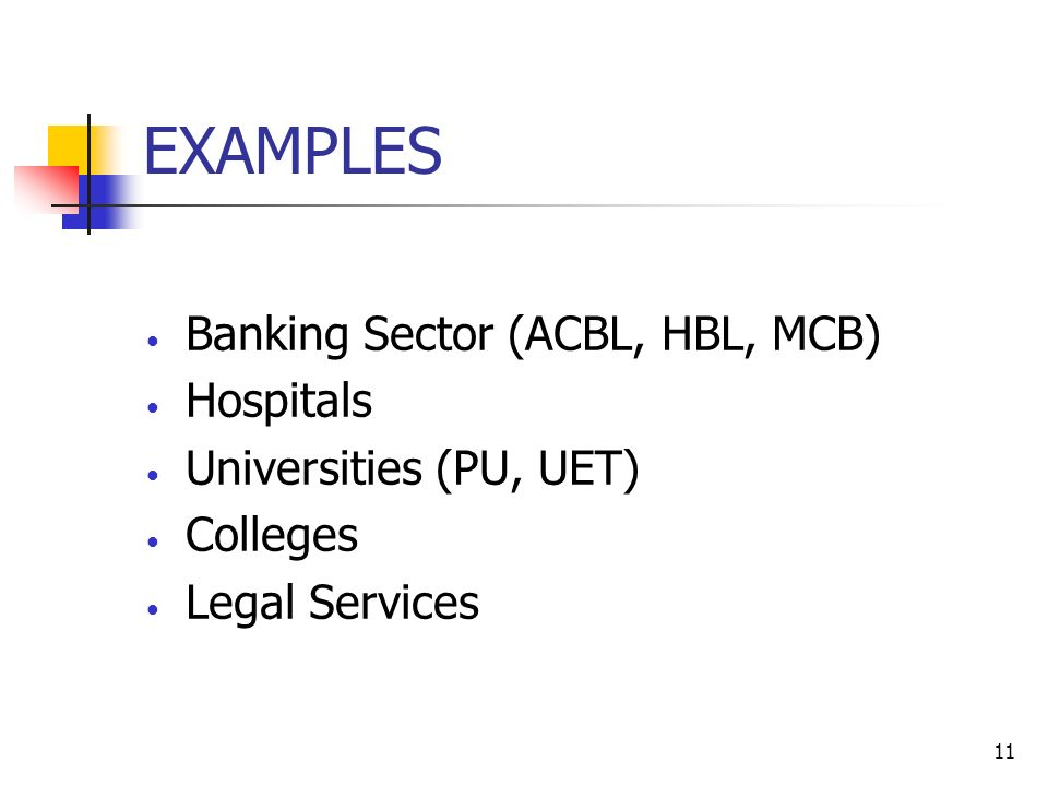 11 EXAMPLES Banking Sector (ACBL, HBL, MCB) Hospitals Universities (PU, UET) Colleges Legal Services