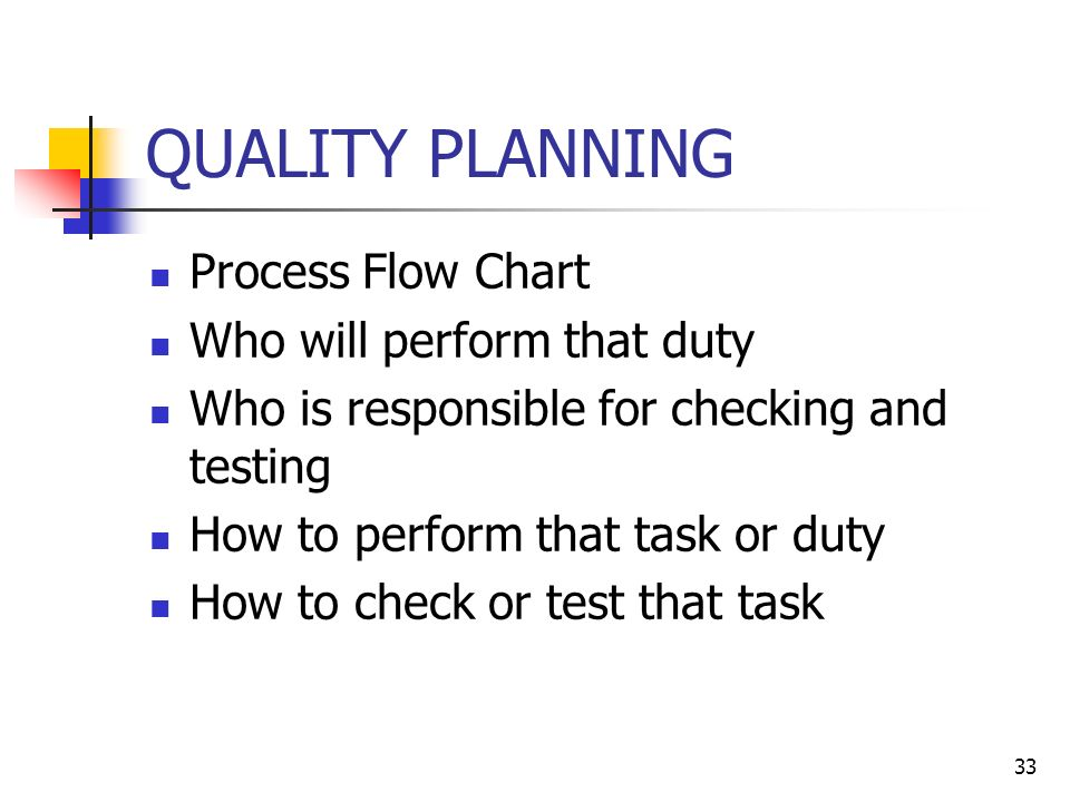 33 QUALITY PLANNING Process Flow Chart Who will perform that duty Who is responsible for checking and testing How to perform that task or duty How to check or test that task