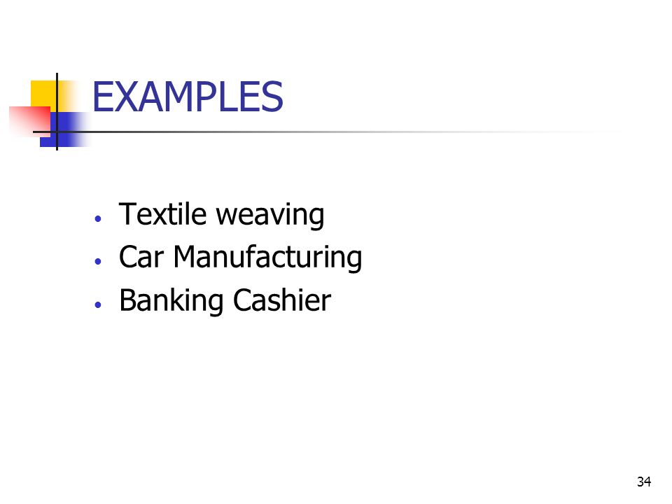 34 EXAMPLES Textile weaving Car Manufacturing Banking Cashier