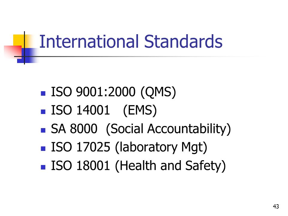 43 International Standards ISO 9001:2000 (QMS) ISO 14001 (EMS) SA 8000 (Social Accountability) ISO 17025 (laboratory Mgt) ISO 18001 (Health and Safety)