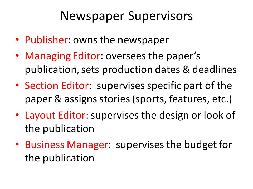Foundations Of Newspaper Newspaper Jobs Terms And Writing Styles