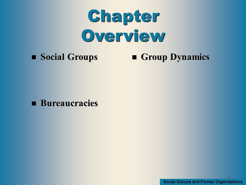 Social Groups and Formal Organizations Aggregate – People who temporarily share a space but don't see themselves as belonging together Category - People who share common characteristics 33 Aggregates and Categories (What is not a group)