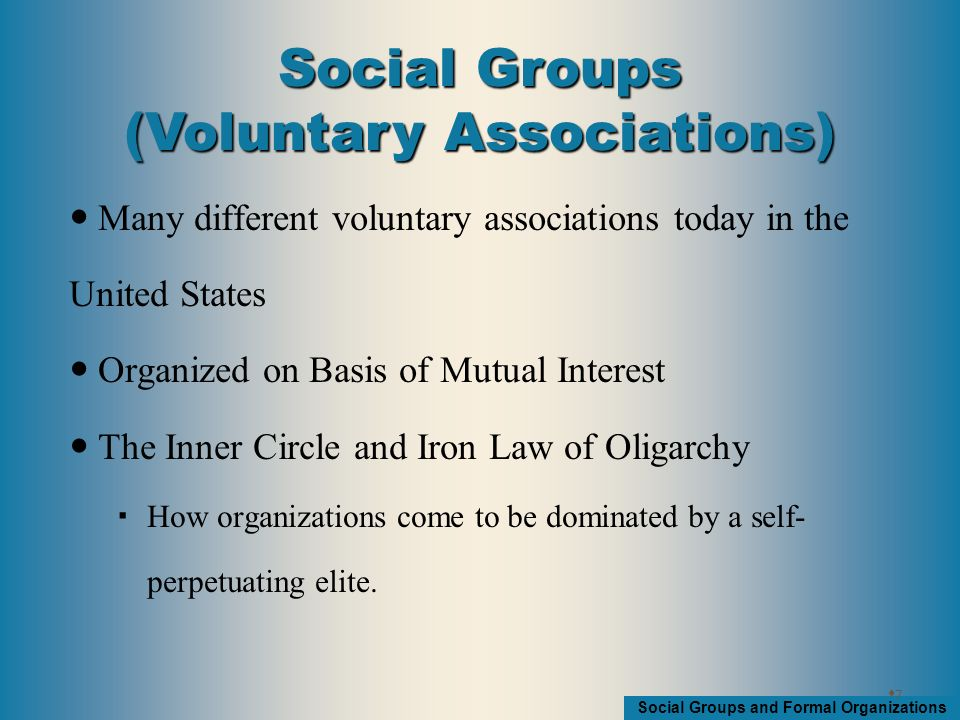 Social Groups and Formal Organizations Many different voluntary associations today in the United States Organized on Basis of Mutual Interest The Inner Circle and Iron Law of Oligarchy  How organizations come to be dominated by a self- perpetuating elite.