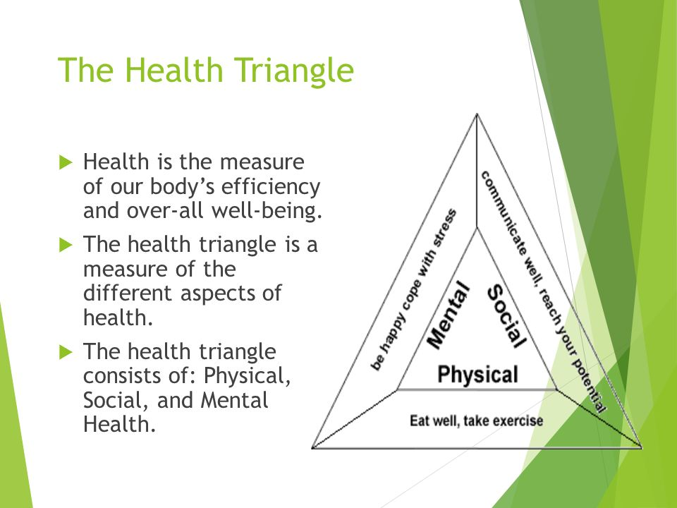 The Health Triangle  Health is the measure of our body's efficiency and over-all well-being.
