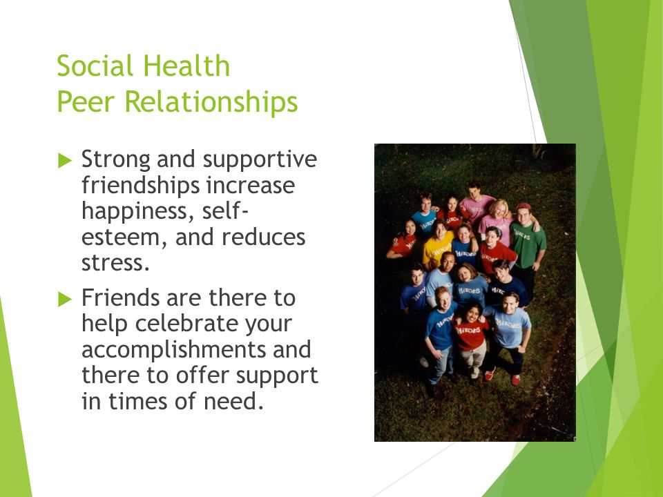 Social Health Peer Relationships  Strong and supportive friendships increase happiness, self- esteem, and reduces stress.