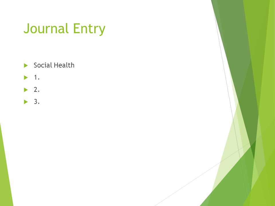 Journal Entry  Social Health  1.  2.  3.