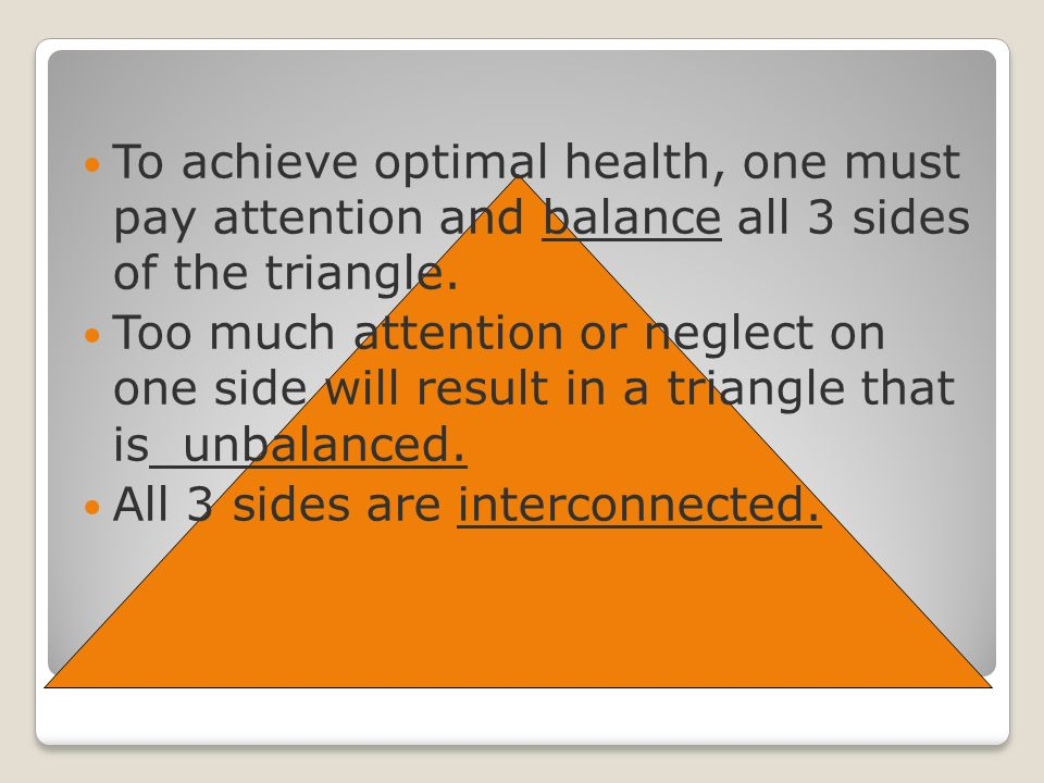 To achieve optimal health, one must pay attention and balance all 3 sides of the triangle.