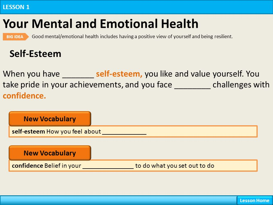 Self-Esteem self-esteem How you feel about _____________ LESSON 1 Your Mental and Emotional Health BIG IDEA Good mental/emotional health includes having a positive view of yourself and being resilient.