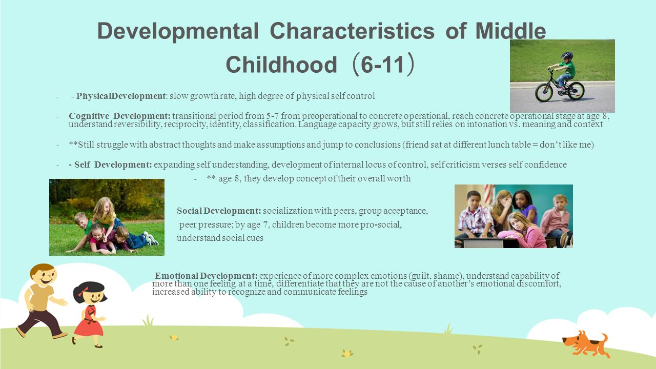 developmental characteristics of a child with