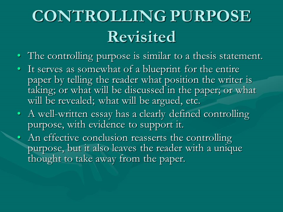 controlling purpose vs thesis What is a thesis statement composition classes stress the role of the thesis statement because it is the backbone of collegiate composition the thesis statement gives the reader insight into the topic, letting him/her know what the essay is about.