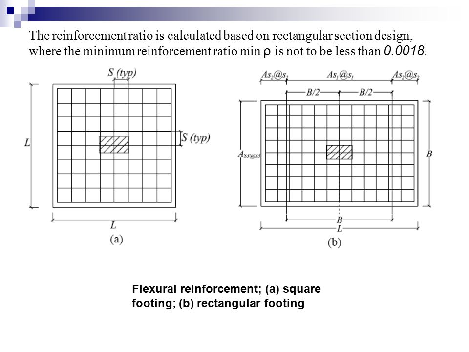 The reinforcement ratio is calculated based on rectangular section design, where the minimum reinforcement ratio min ρ is not to be less than 0.0018.