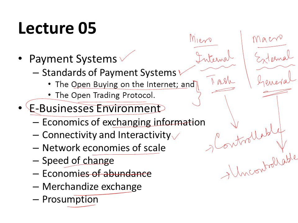 Lecture 05 Payment Systems – Standards of Payment Systems The Open Buying on the Internet; and The Open Trading Protocol.