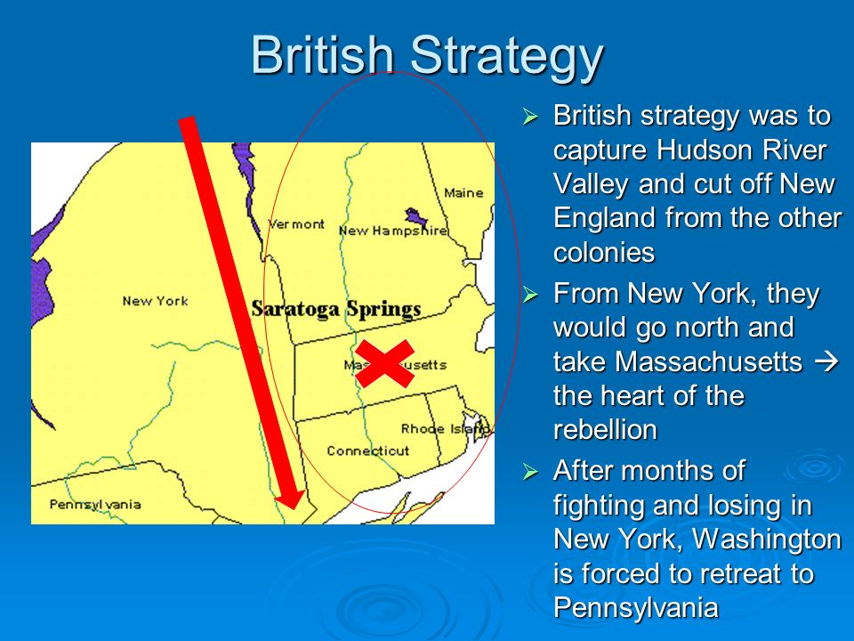 British Strategy BBBBritish strategy was to capture Hudson River Valley and cut off New England from the other colonies FFFFrom New York, they would go north and take Massachusetts  the heart of the rebellion AAAAfter months of fighting and losing in New York, Washington is forced to retreat to Pennsylvania