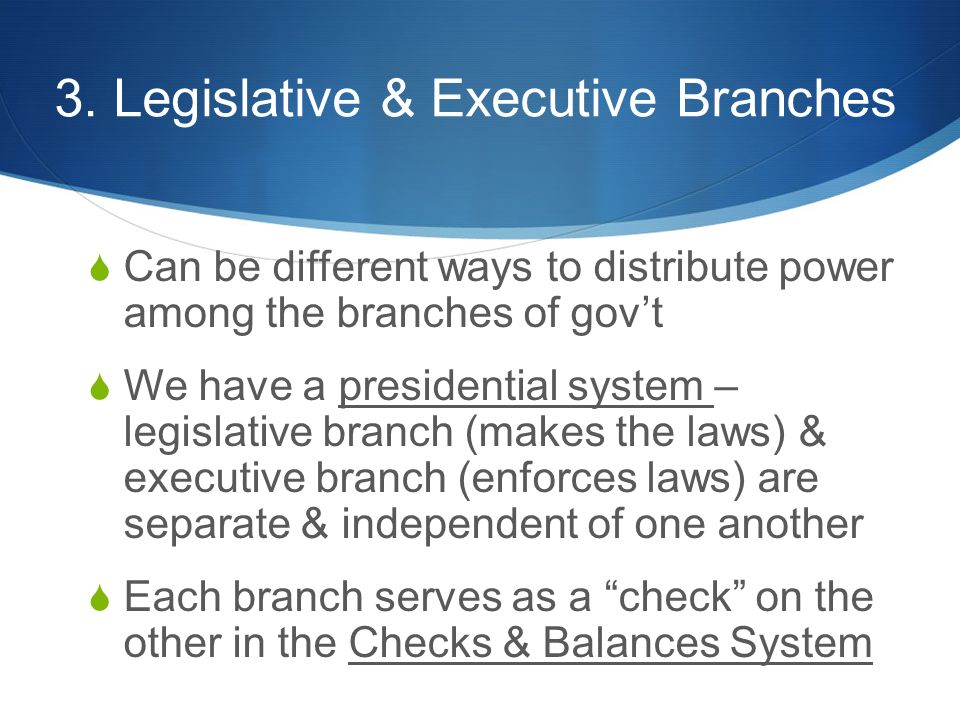 3. Legislative & Executive Branches  Can be different ways to distribute power among the branches of gov't  We have a presidential system – legislat