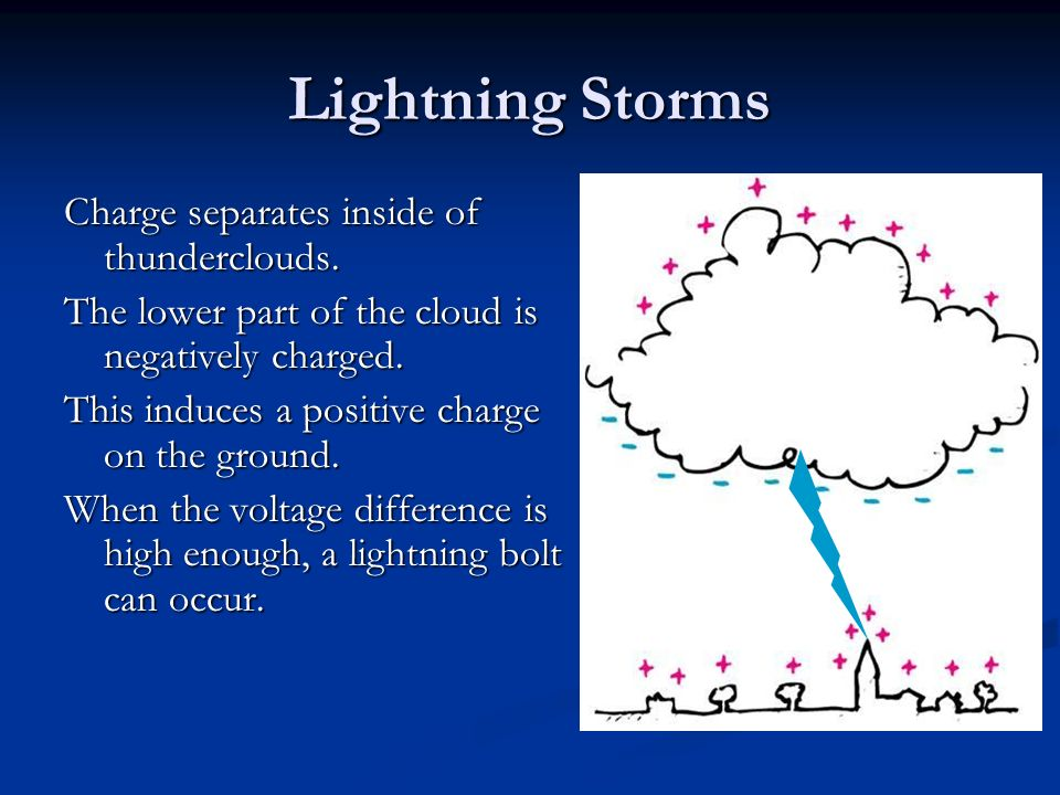 Lightning Storms Charge separates inside of thunderclouds.