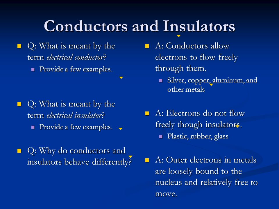 Conductors and Insulators Q: What is meant by the term electrical conductor.