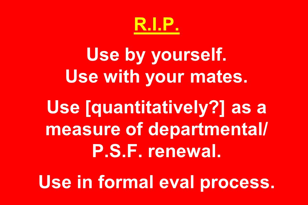R.I.P. Use by yourself. Use with your mates.