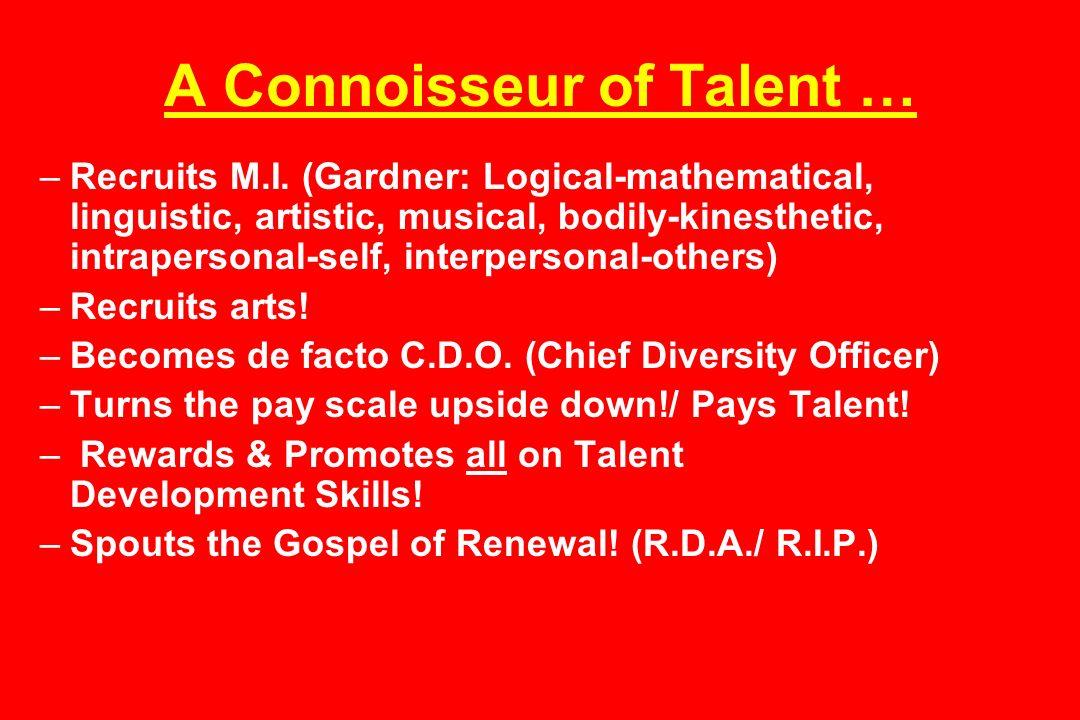 A Connoisseur of Talent … –Recruits M.I.