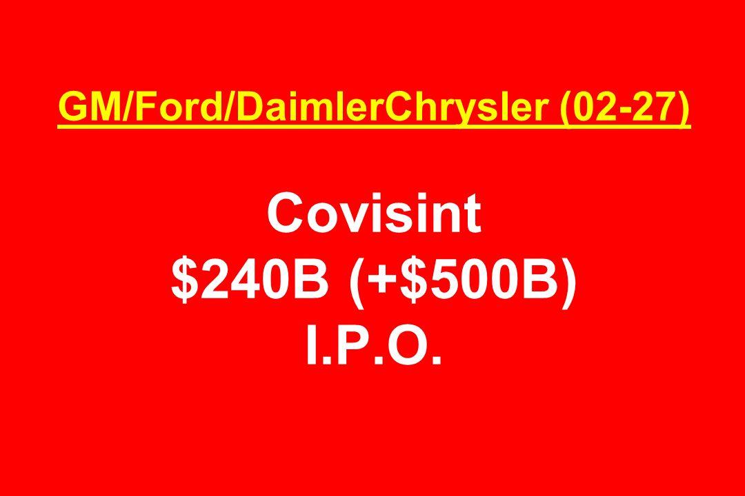 GM/Ford/DaimlerChrysler (02-27) Covisint $240B (+$500B) I.P.O.
