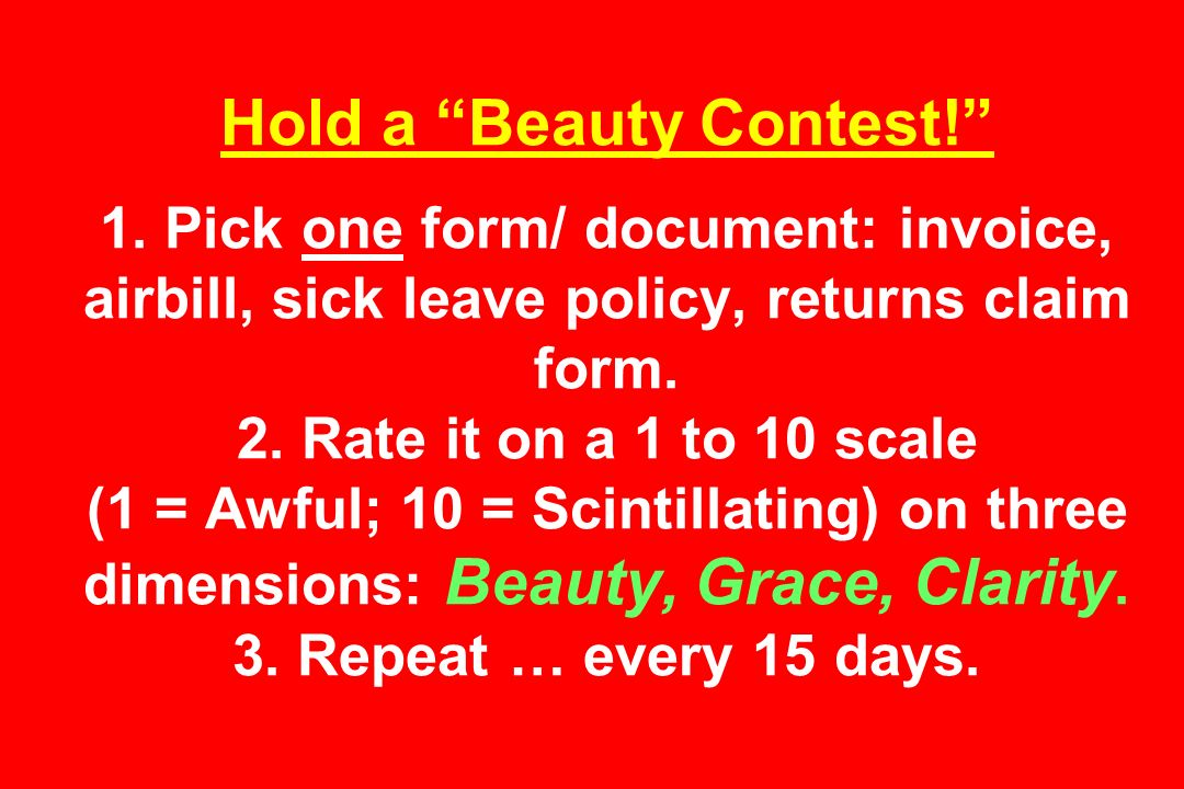 Hold a Beauty Contest! 1.