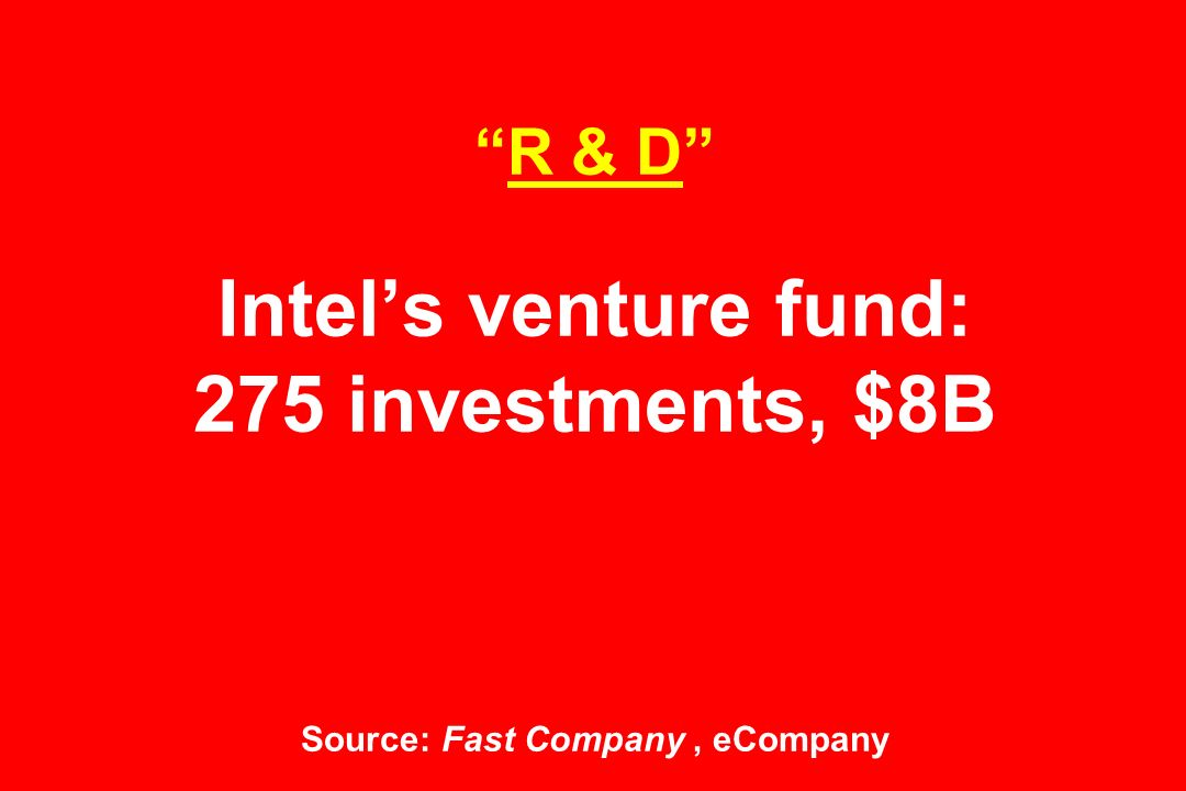 R & D Intel's venture fund: 275 investments, $8B Source: Fast Company, eCompany