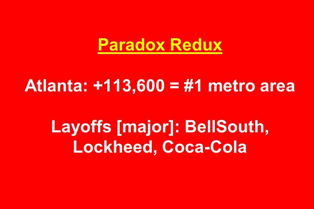 Paradox Redux Atlanta: +113,600 = #1 metro area Layoffs [major]: BellSouth, Lockheed, Coca-Cola