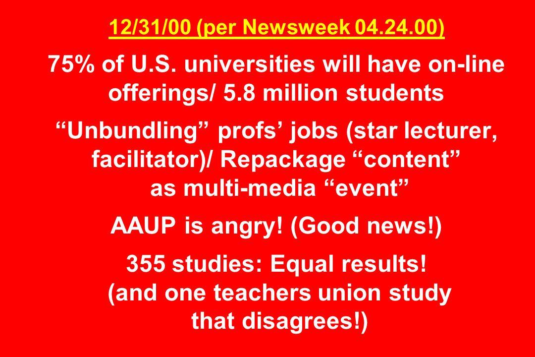 12/31/00 (per Newsweek 04.24.00) 75% of U.S.