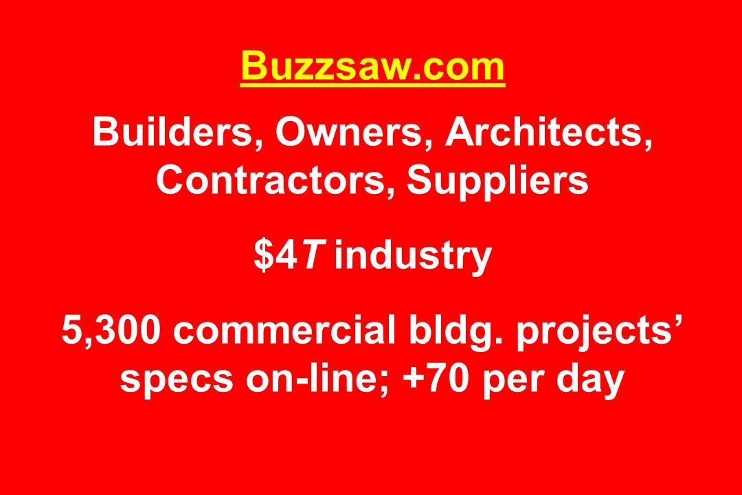 Buzzsaw.com Builders, Owners, Architects, Contractors, Suppliers $4T industry 5,300 commercial bldg.