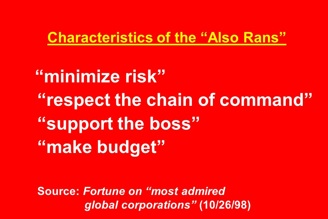 Characteristics of the Also Rans minimize risk respect the chain of command support the boss make budget Source: Fortune on most admired global corporations (10/26/98)