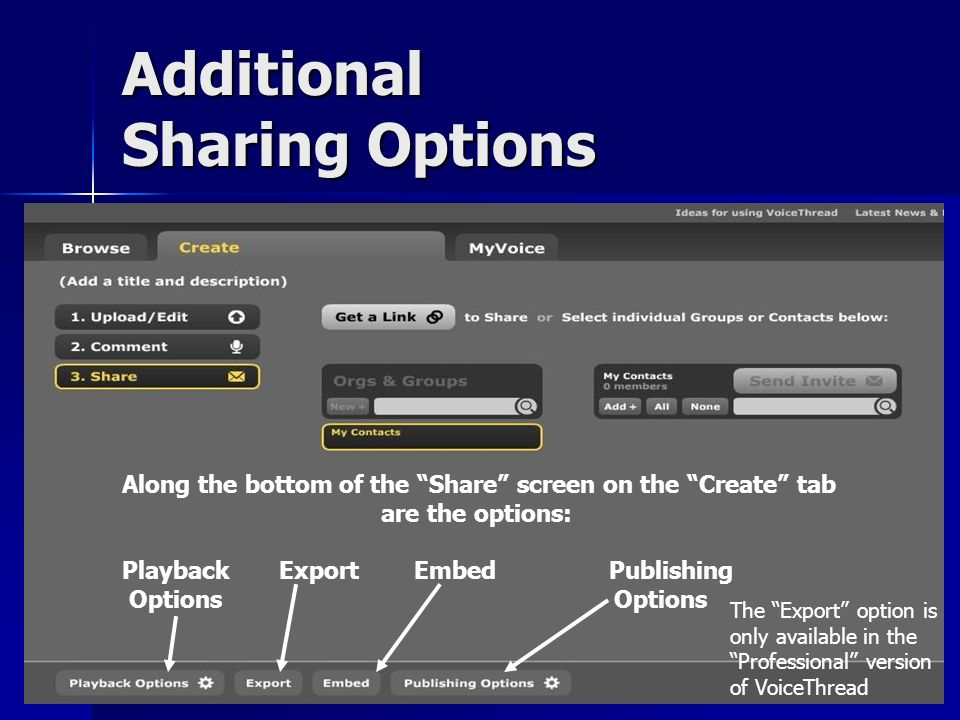 Additional Sharing Options Along the bottom of the Share screen on the Create tab are the options: Playback Export Embed Publishing Options Options The Export option is only available in the Professional version of VoiceThread