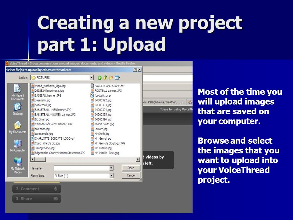Creating a new project part 1: Upload Most of the time you will upload images that are saved on your computer.