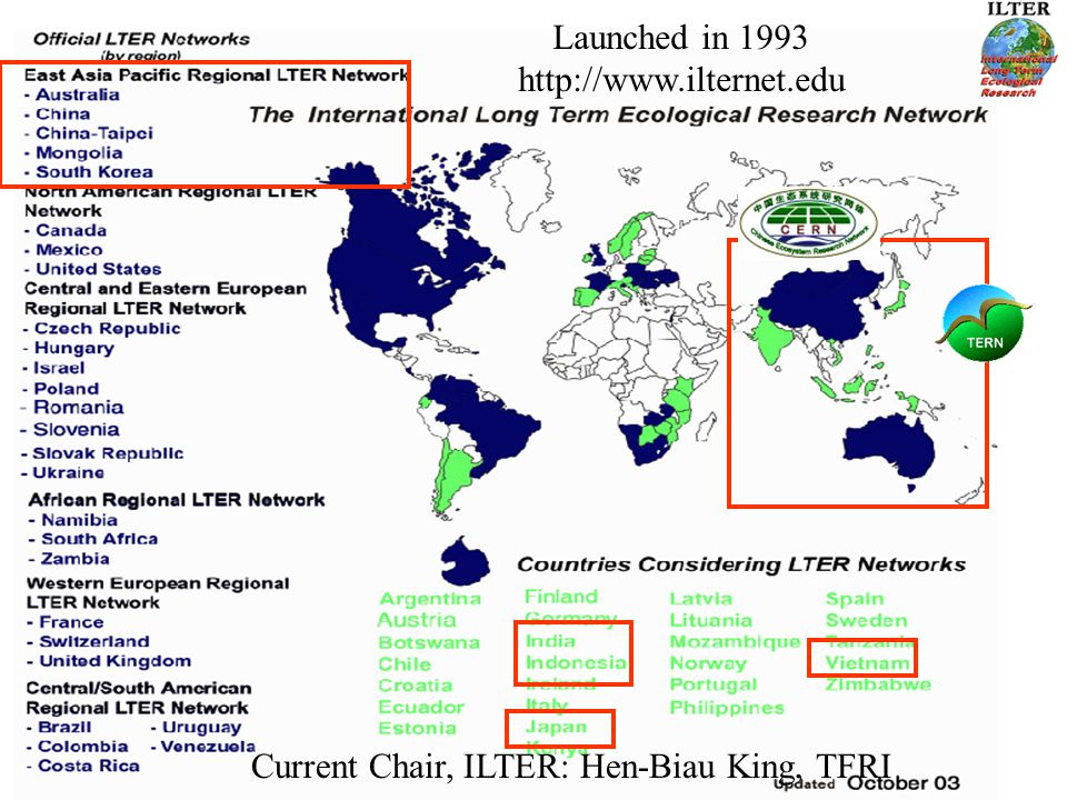 International LTER Network Launched in Current Chair, ILTER: Hen-Biau King, TFRI