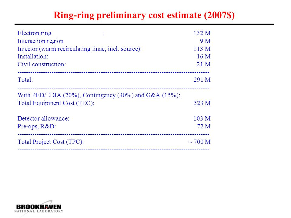 Ring-ring preliminary cost estimate (2007$) Electron ring : 132 M Interaction region 9 M Injector (warm recirculating linac, incl.