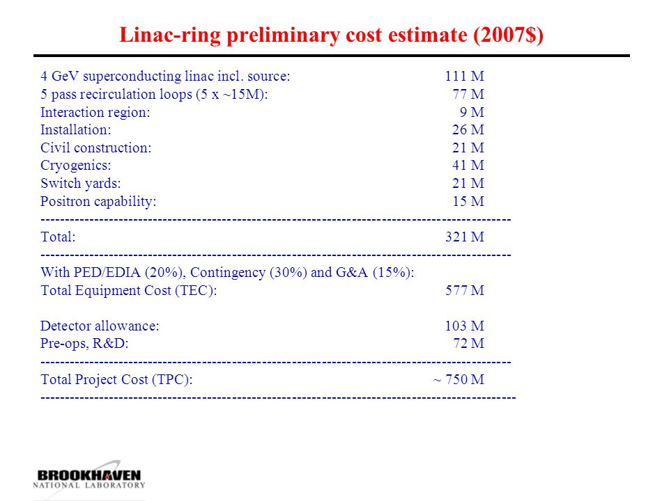 Linac-ring preliminary cost estimate (2007$) 4 GeV superconducting linac incl.