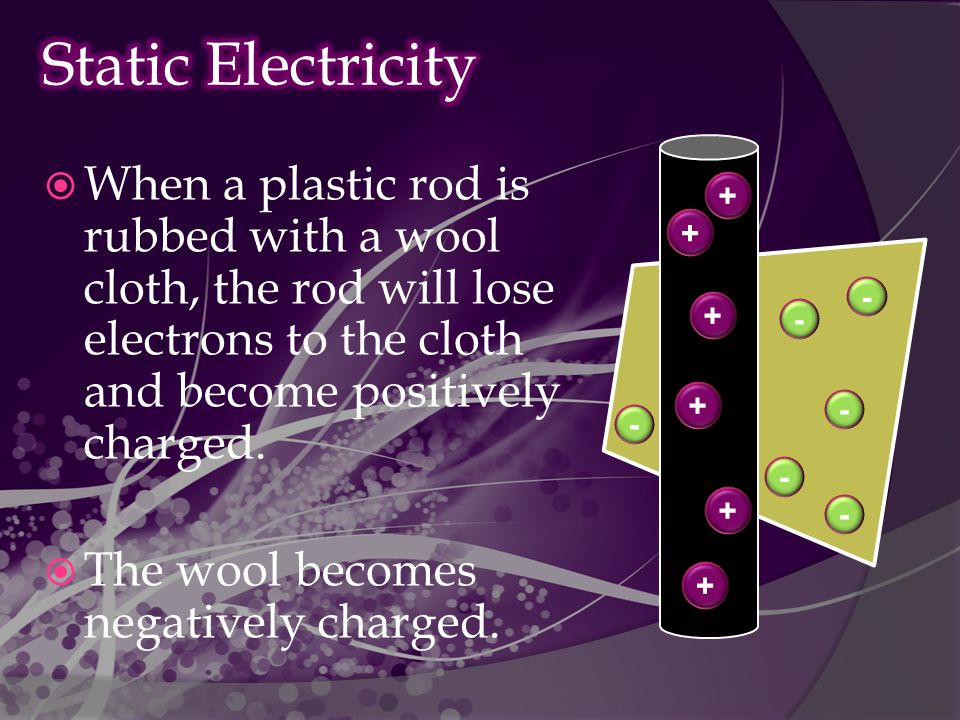  When a plastic rod is rubbed with a wool cloth, the rod will lose electrons to the cloth and become positively charged.