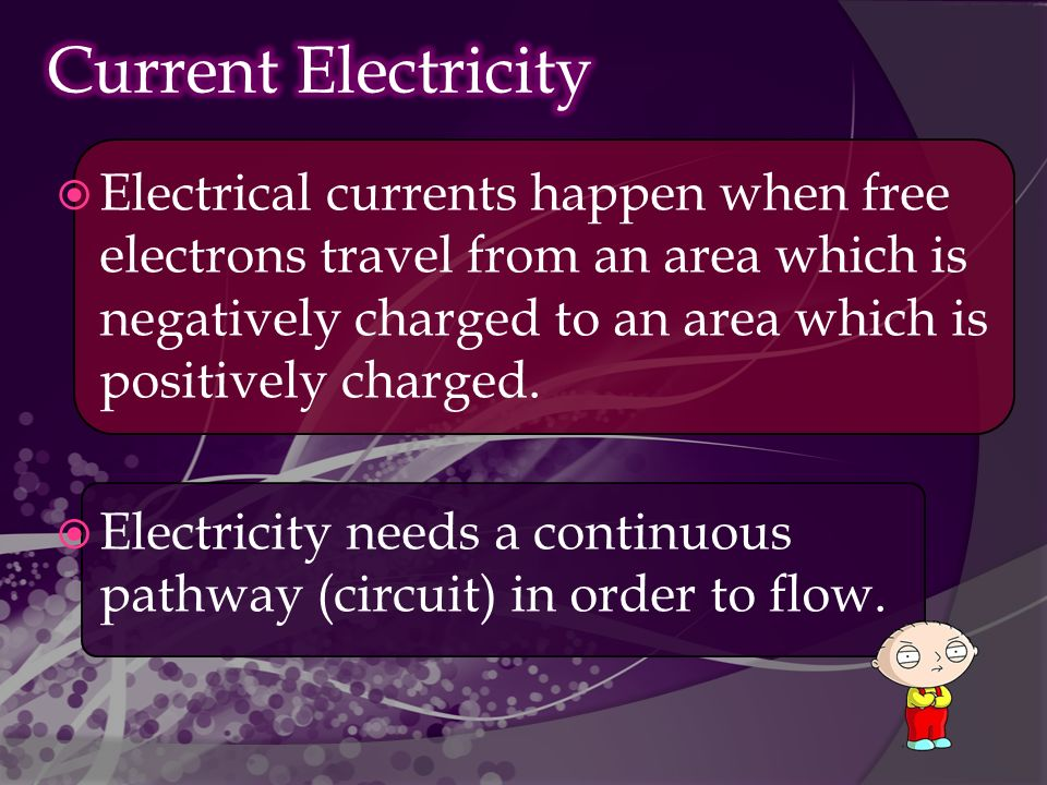  Electrical currents happen when free electrons travel from an area which is negatively charged to an area which is positively charged.