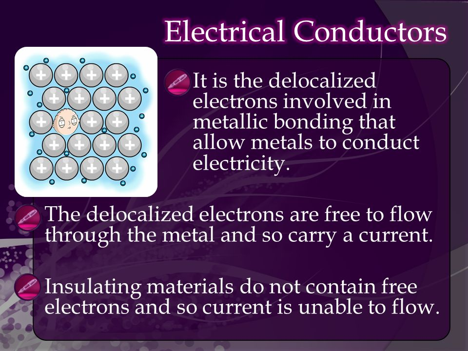  It is the delocalized electrons involved in metallic bonding that allow metals to conduct electricity.