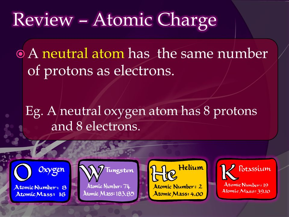  A neutral atom has the same number of protons as electrons.