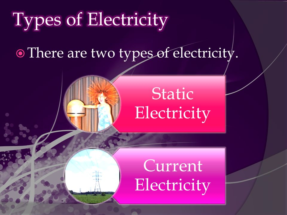  There are two types of electricity. Static Electricity Current Electricity