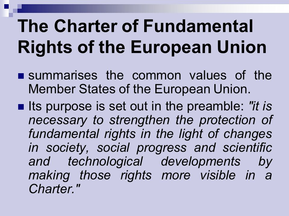 The Charter of Fundamental Rights of the European Union summarises the common values of the Member States of the European Union.