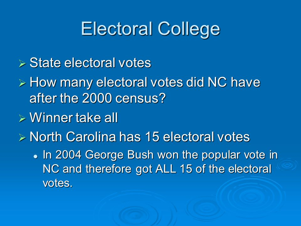 Electoral College  State electoral votes  How many electoral votes did NC have after the 2000 census.