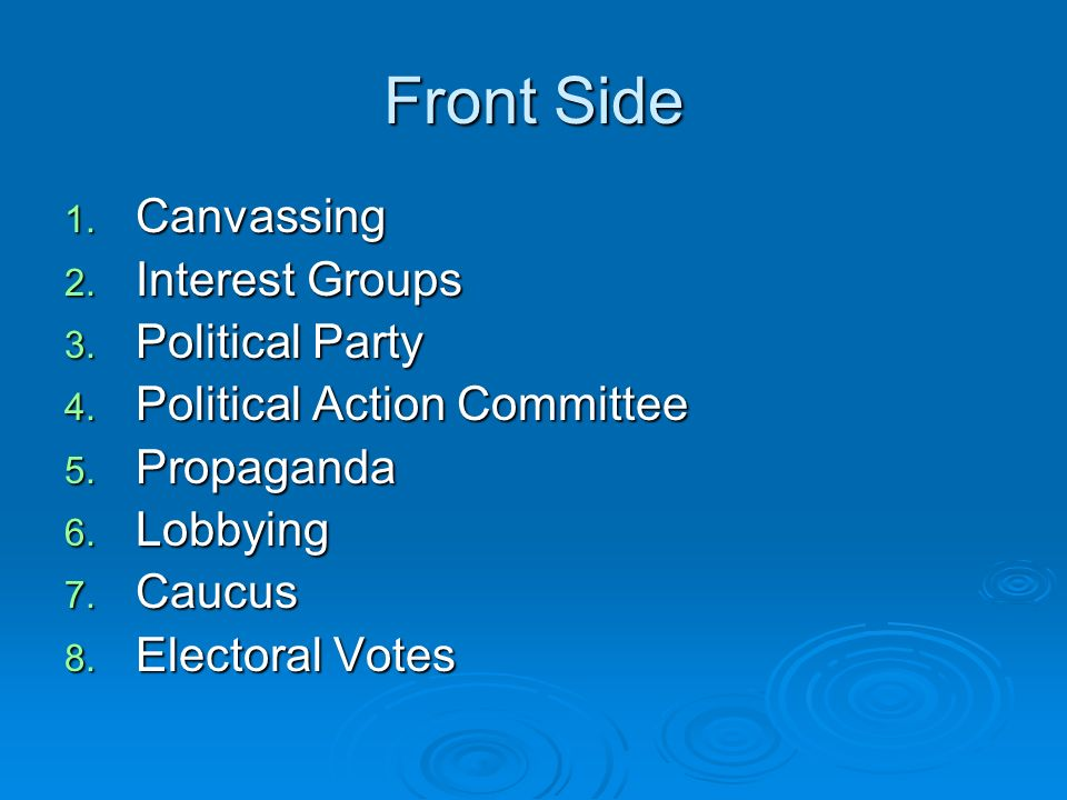 Front Side 1. Canvassing 2. Interest Groups 3. Political Party 4.