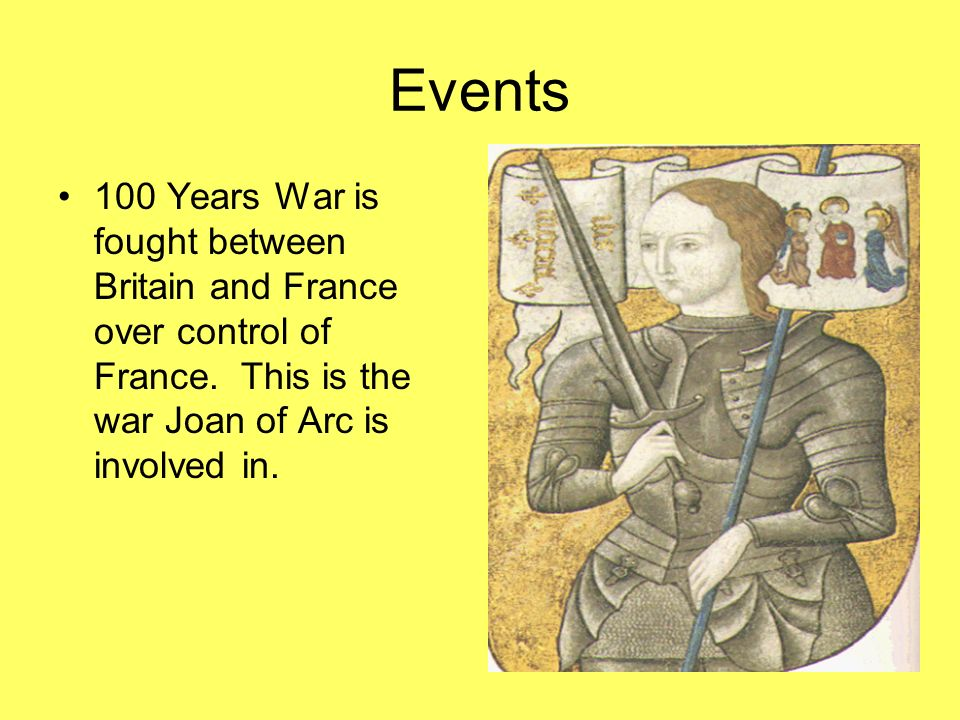 Events 100 Years War is fought between Britain and France over control of France.