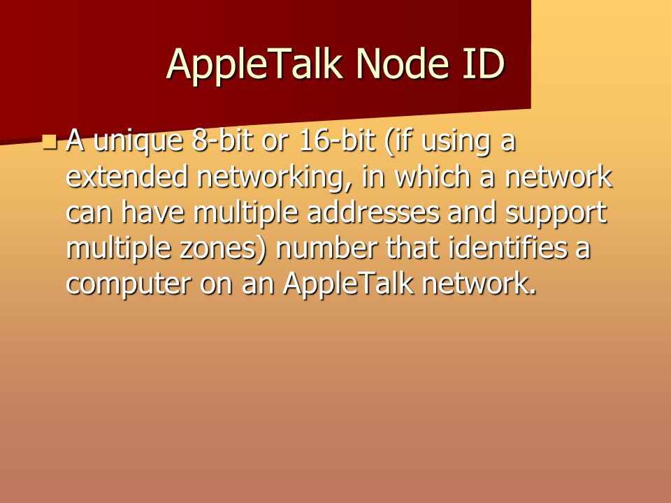 AppleTalk Network Number A unique 16-bit number that identifies the network to which an AppleTalk node is connected.