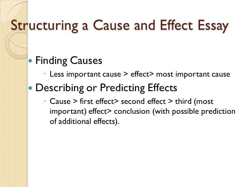 the cause and effect essay to understand the relationship of   essay to distinguish causes from effects 18 structuring