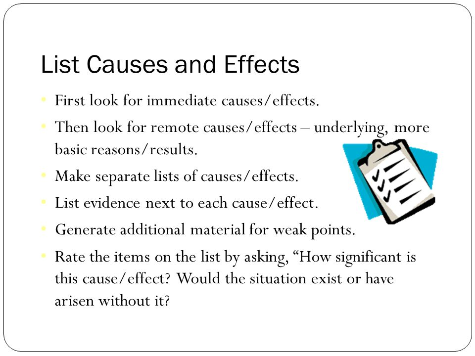 cause and effect essay example outline When writing a cause and effect essay which generally requires the writer to illustrate a scenario in which one or more actions or events ultimately cause or caused certain effects to occur, the student should create and follow an outline.