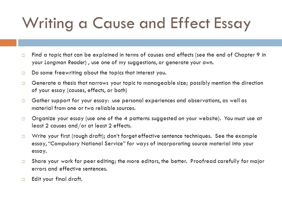 Essay Cause And Effect Topics